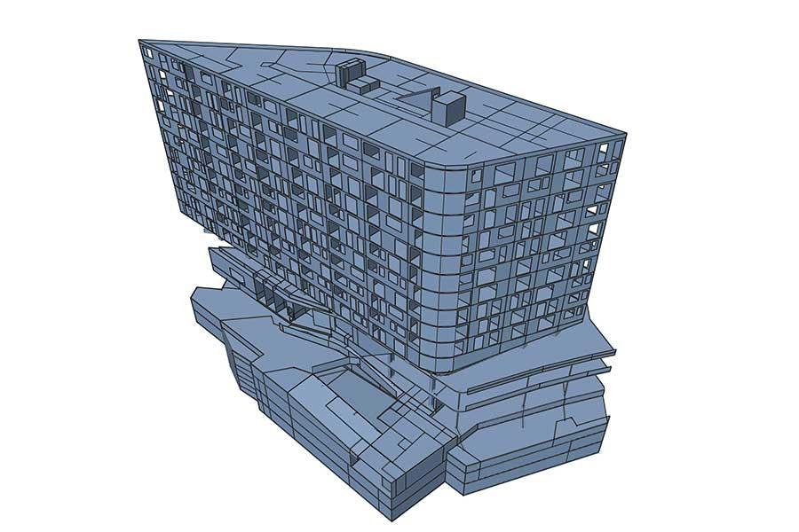 SCIA Engineer 3D Modell Hochhaus Wohnhaus