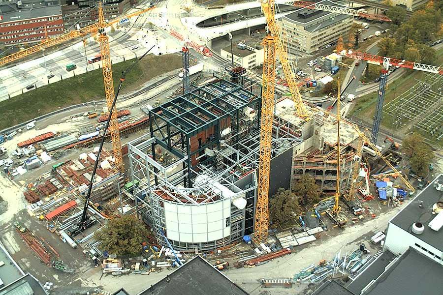 Mit SCIA Statiksoftware dimensionierte und geplante Stahlkonstruktion Gebäudekomplex Wirbelschichtverbrennungsanlage