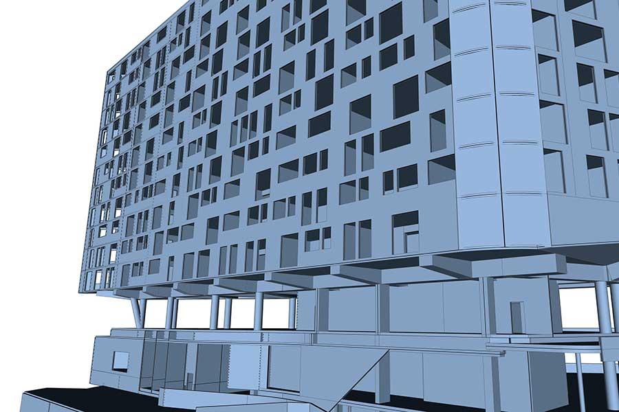 SCIA Engineer Berechnung Geschoss-Stützen für Hochhaus
