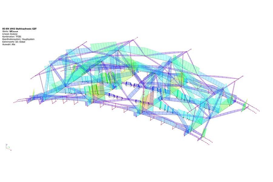 SCIA Statiksoftware 3D Lastverteilung Seilbahnstütze