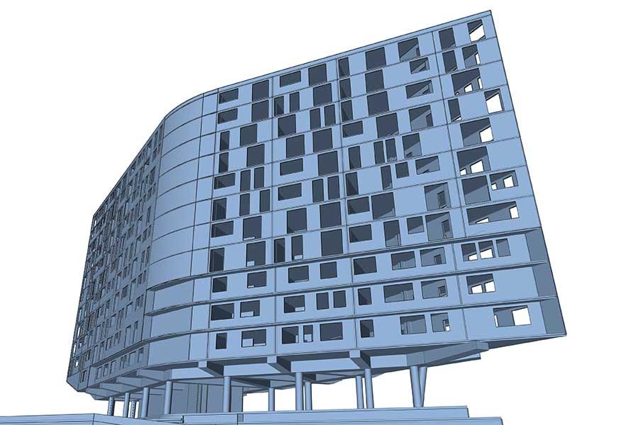 SCIA Engineer Berechnung Stahlbetonkonstruktion Stützen für Hochhaus