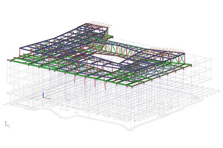 3D FEM Statikmodell Dachkonstruktion Stahlträger