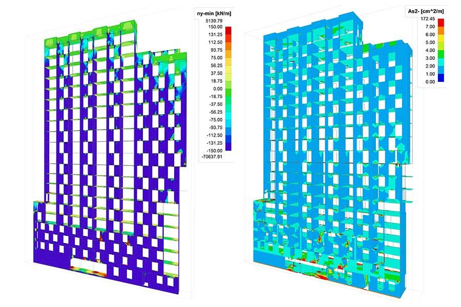SCIA Engineer Berechnung Fassade Spannung und Fassade Bewehrung