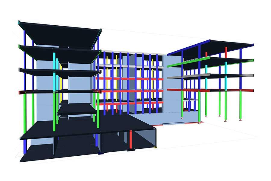 SCIA Statiksoftware - Porr Firmenzentrale Haribo - Statikberechnung Geschoss-Dimensionierung