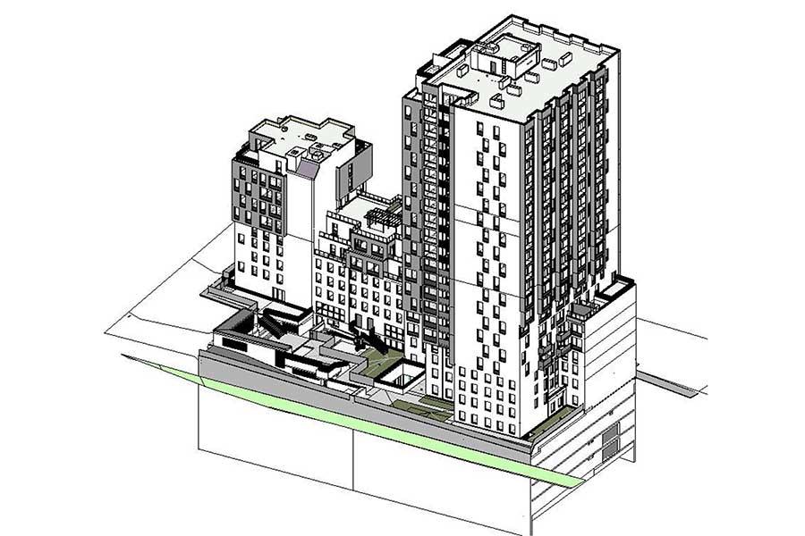 SCIA Engineer Referenz - Hochhaus ML5 Wien - 3D Gesamtansicht
