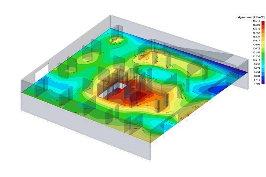 SCIA Statiksoftware - 3D Ansicht Berechnung der Bodenpressung des Hochhauses