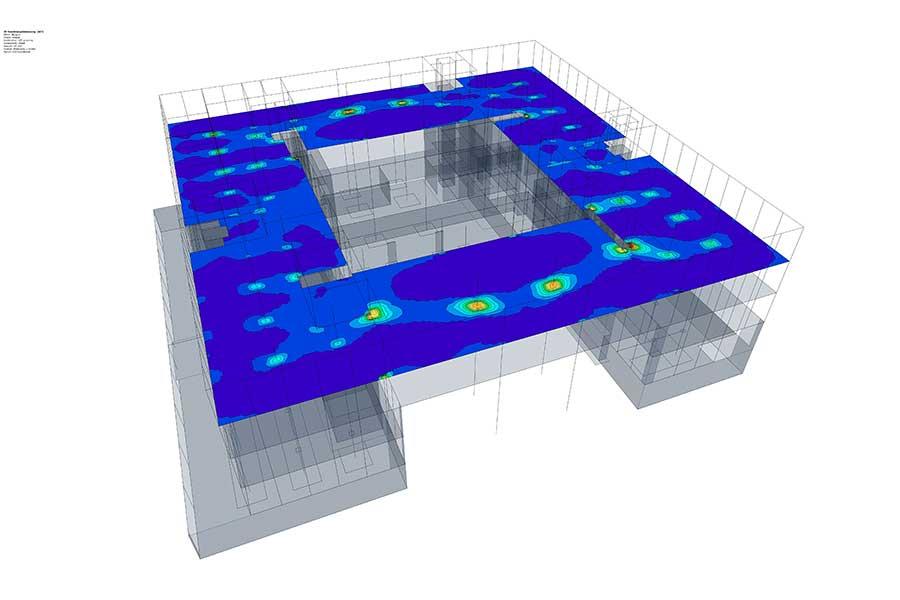 Statiksoftware Belastungsdiagramm Deckenkonstruktion Bauwerk